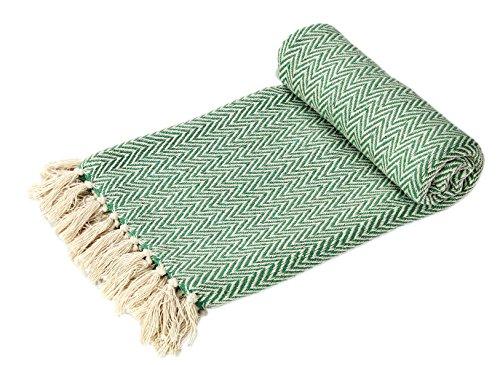 EHC Handgewebte, superweiche, grüne, wendbare doppelseitige Baumwoll-Decke, geeignet als Tagesdecke und Überwurf für Sofa und Sessel, 125x 150cm
