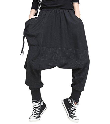 ELLAZHU Damen Mode Elastisch Taille Baggy Drop Crotch Schwarz Freizeitkleidung Haremshosen GY1529 A