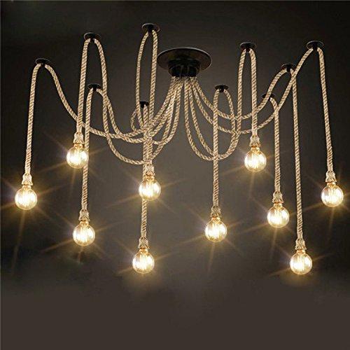 ERCZYO E27 12 Köpfe Industrielle Kronleuchter Pendelleuchten Vintage Hanfseil Deckenleuchte Leuchte ERCZYO