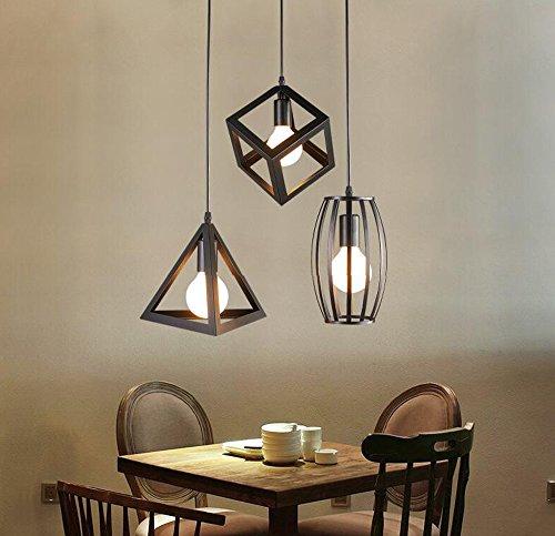 Home-Neat Vintage Pendelleuchte 3er Set Kronleuchter Pendellampe Schwarz E27 Lampenschirm für Küche Wohnzimmer Decken Schlafzimmer Hängeleuchte