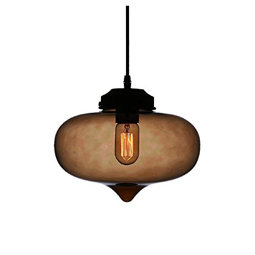 Huahan Haituo Kronleuchter aus Glas mehrfarbig Industrielle Retro Lampenschirm in Form großer Tropfen