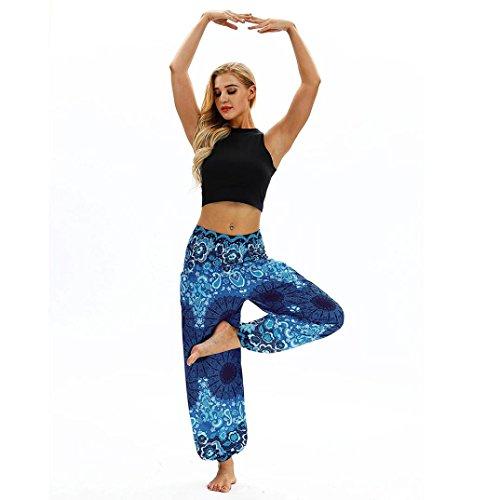 Huihong Damen Haremshose Pumphose Beiläufige Lose Hippie Yoga Hose Baggy Boho Aladin Hose Blumenmuster Hose breite Beinhosen
