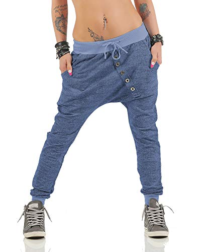 Moda Italy trendy Damen Sweatpants Baggy Boyfriend Freizeithose Jogginghose Baumwolle Sporthose Loose fit