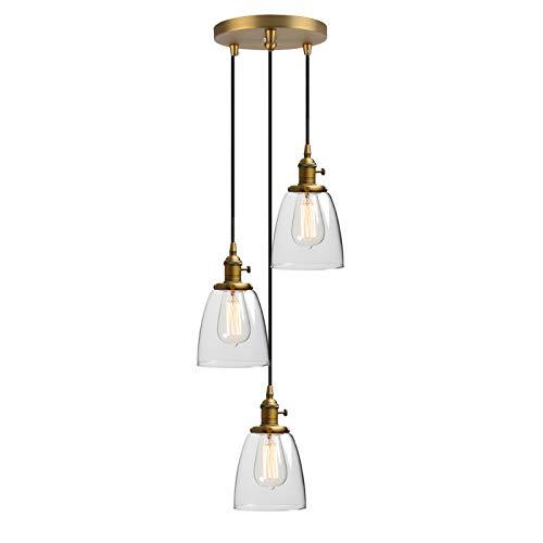 Phansthy 3 Flaming Klar Glas Glocken Retro Design Modernes Pendelleuchte Hängeleuchte Vintage Hängelampen Hängeleuchte Pendelleuchten Loft-Pendelleuchte im Landstil
