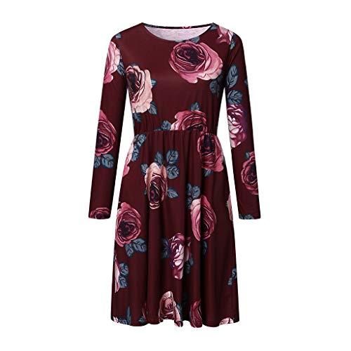 UYSDF Damen Einfach Lange Ärmel Flowy Bescheiden Midi Arbeit Beiläufig Kleid Kleid