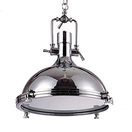 Vintage Design Pendelleuchte Retro Industrielle Hängeleuchte Rund Metall mit Glas Lampenschirm ustikal Loft Chrom Pendellampe Kronleuchter für Restaurant Schlafzimmer E27 Edison Deco Deckenbeleuchtung