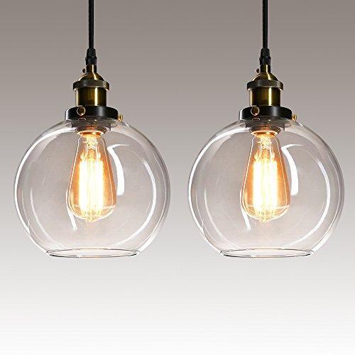 Vintage Pendelleuchte, Frideko Modern Industrie Glas Kugel Hängelampe Klar für Loft Schlafzimmer Bar Pub Cafeteria