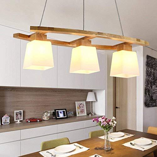 ZMH Pendelleuchte esstisch Pendellampe Holz und Glas Hängeleuchte 3 x LED E27/3W Hängelampe retro Deckenleuchte für Esszimmer/Wohnzimmer/Büro/cafe Leuchtmittel inklusiv von ZMH