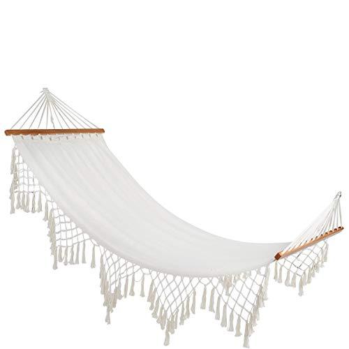 BUTLERS Show Me Heaven Hängematte mit Troddeln, 200x100 - weiße Liegematte aus Baumwolle - Matte für Indoor und Outdoor