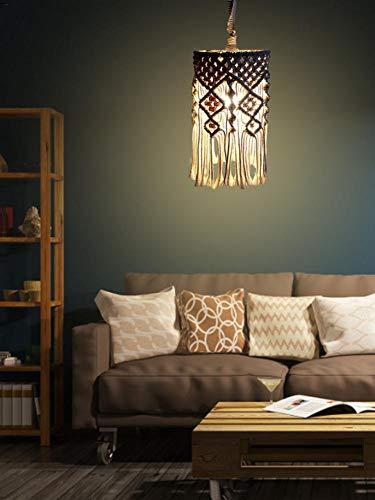 Bohemian Makramee Laterne-Lampe Form, Handarbeit Baumwolle Seil hängende Licht Schatten, Kronleuchter Dekorative Lampshade Boho Hauptdekor, 16 Zoll (kein Licht im Lieferumfang enthalten)