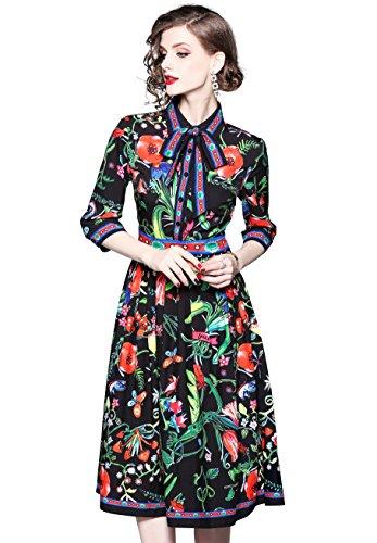 Damen 3/4-Arm/Lange Ärmel Hemdkleider mit Blumenmuster Knopfleiste Vorne Casual A-Linie Kleid