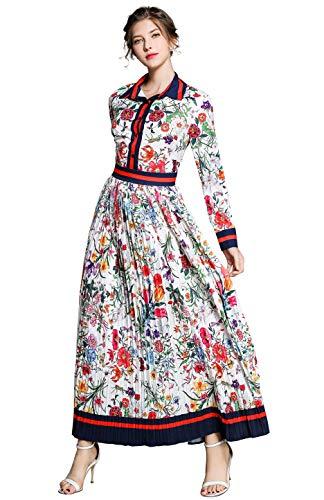 Damen Blumen Maxikleid Bohemien 3/4 Arm A-Linie Elegant Lang Kleider Hemdkleid Partykleid Casual, Style 2, 44