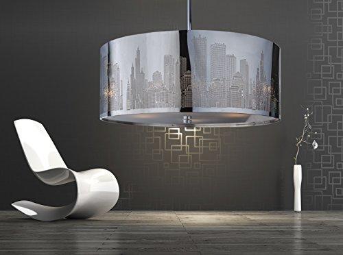 Design Deckenlampe New York Chrom Durchmesser 50 cm, Pendelleuchte rund, Hängelampe LED geeignet 4X E27, Modern Lampenschirm für Wohnzimmer und Küche - Metall und Glas - Dimmbar und höhenverstellbar