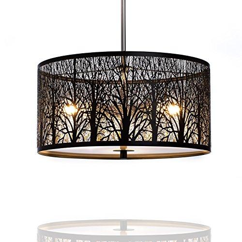 Design Deckenlampe schwarz Durchmesser 40 cm, Pendelleuchte rund, Hängelampe LED geeignet 3X E27, Modern Lampenschirm für Wohnzimmer und Küche - Metall und Glas - Dimmbar und höhenverstellbar