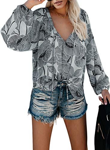 FIYOTE Damen Blusen Elegante Oberteile V-Ausschnitt Tops Casual Hemd Langarm Shirt 9 Farbe S/M/L/XL/XXL