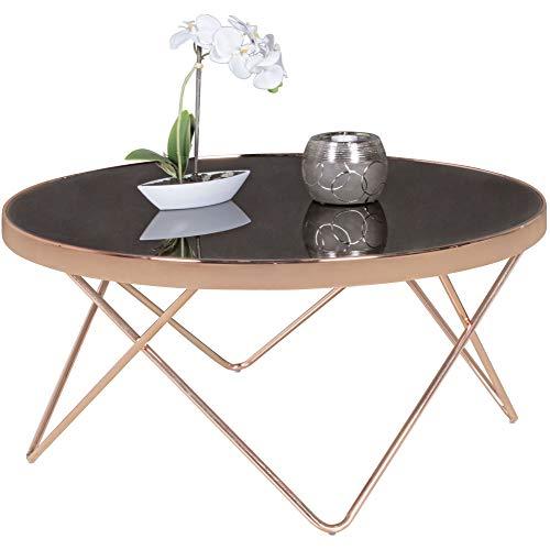 FineBuy Design Couchtisch Ø 82 cm Beistelltisch Metall/Glas | Tisch mit Glasplatte | Ablagetisch modern | Großer Wohnzimmertisch | Glastisch mit Metallgestell