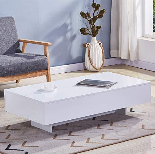 GOLDFAN Rechteckiger Hochglanz-Couchtisch Lackierter Wohnzimmertisch aus Holz mit Aufbewahrung, Modernes Design, Weiß