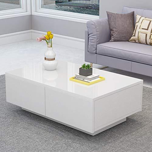 Greensen Couchtisch Weiß Hochglanz Wohnzimmertisch mit 4 Schubladen Sofatisch Modern Design Kaffeetisch Tisch Holz für Wohnzimmer Büro Wohnzimmermöbel 95 x 60 x 31 cm