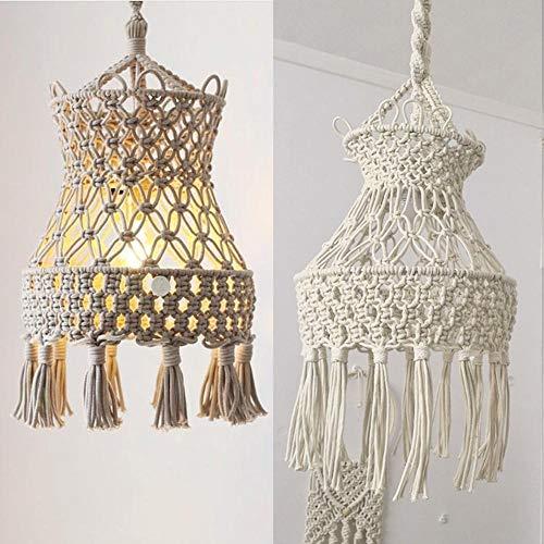 Handgemachter Lampenschirm Mit Baumwollseil Leuchter BöHmische Hochzeitsdekoration, Moderne Makramee Lampe Cozy Light Kronleuchter Raumlampendekor