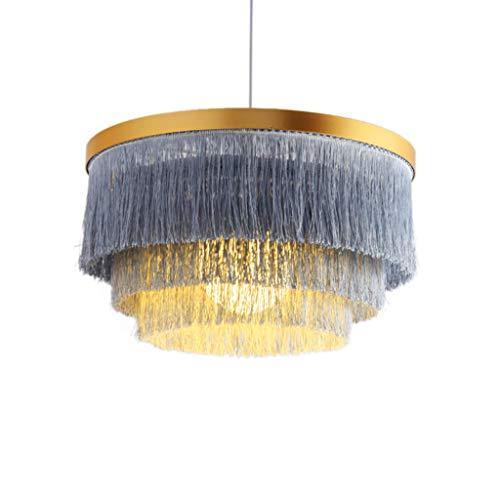 Hlidpu Quaste Pendelleuchten Modern Schatten in Grau Indoor Laterne Baumwolle Seil Boho Home Decor, 42cm (kein Licht enthalten)