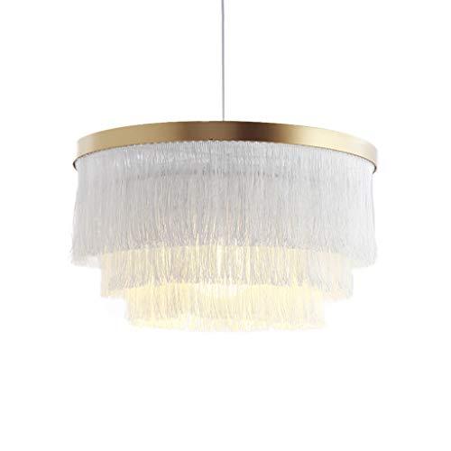 Hlidpu Quaste Pendelleuchten Modern Schatten in Weiß Indoor Laterne Baumwolle Seil Boho Home Decor, 42cm (kein Licht enthalten)