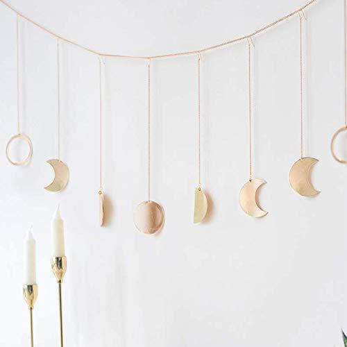 LLQ Original Boho Gold Glänzende Mondphase Wandbehang Ornamente Mond Hängen Kunst Raumdekor für Hochzeit Retro Stil Hause Wanddekorationen