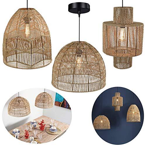 LS-LebenStil Hänge-Lampe Pendel-Leuchte Natur Look Korb-Lampe