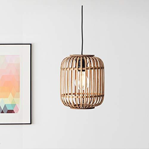 Lightbox Pendelleuchte, Hängeleuchte aus echtem Rattan, E 27 Fassung für max. 40W Leuchtmittel, Moderne Hängelampe aus Metall/Rattan - hellbraun/schwa