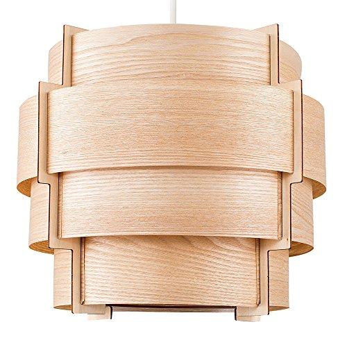 MiniSun - Moderner brauner Trommel-Lampenschirm aus Holzfurnier im Stufendesign - für Hänge- und Pendelleuchte