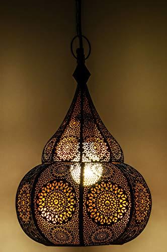 Orientalische Lampe Pendelleuchte Ilham 40cm E27 Lampenfassung | Marokkanische Design Hängeleuchte Leuchte aus Marokko | Orient Lampen für Wohnzimmer Küche oder Hängend über den Esstisch