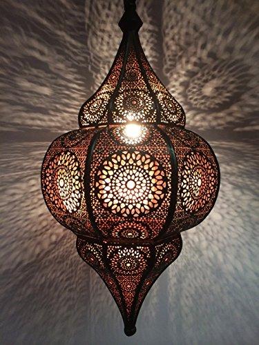 Orientalische Lampe Pendelleuchte Malha 50cm E14 Lampenfassung | Marokkanische Design Hängeleuchte Leuchte aus Marokko | Orient Lampen für Wohnzimmer Küche oder Hängend über den Esstisch