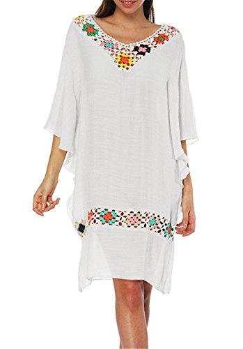 PANAX Handgehäkeltes Damen Sommerkleid im Boho Style, Fledermausärmel mit V-Ausschnitt, Knielanges Cotton Slub Kleid für Urlaub und Strand