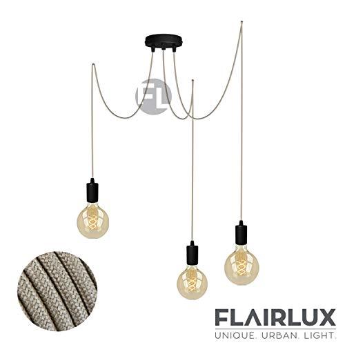 Pendelleuchte schwarz metall 3 flammig DIY E27 mit Textilkabel höhenverstellbar Deckenleuchte Vintage Lampe Retro elegantes Design für Ihre Wohnung.