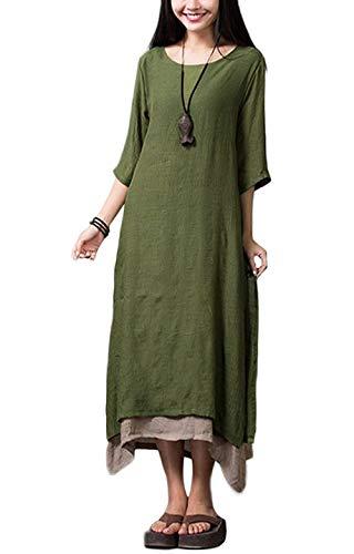 Romacci Damen Kleid Unregelmäßiger Rand Beiläufige Boho Lang Maxikleider S-4XL,Orange/Grün/Coffee