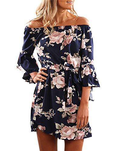 Style Dome Damen Schulterkleid Langarm Boho Kleid Blumenmuster Strandkleid Sommerkleider Lang Maxikleid