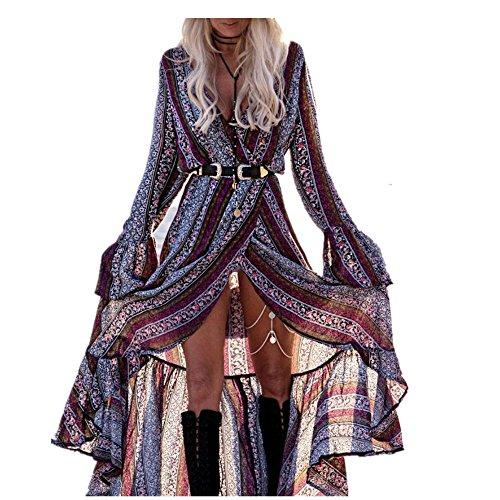 Sweetwill Boho Maxikleid Blumen Lange Sommerkleider Damen Maxi Strandkleid Casual Langarm V-ausschnitt Kleid für Frauen