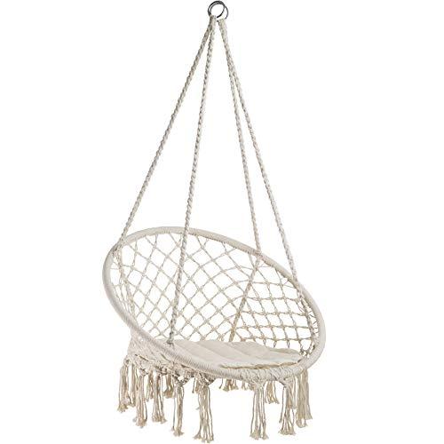 TecTake 800689 Hängesessel zum Aufhängen, inkl. bequemes Sitzkissen, max. 100 kg belastbar, für draußen und drinnen geeignet - Diverse Farben -
