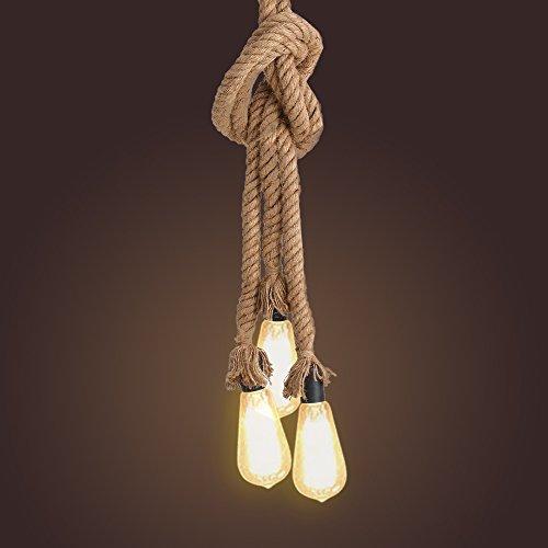 Tomshine Vintage Hanfseillampe Hängelampe Pendelleuchte Seilleuchte 0,5m mit 3 E27 Lampenfassungen für Küche, Bar, Fundament, Lager, Bauernhof (Ohne Birne)