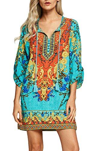 Urbancoco Damen Vintage Bohemian Strandtunika Sommerkleid Tunikakleid Bluse