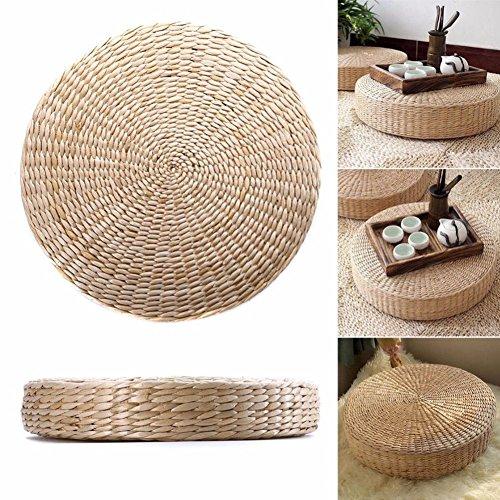 UxradG Stuhl Sitz Matte Gras Kissen Pad Beige Handgefertigt Rund Stroh Weave Kissen Fußmatte Yoga Zen Outdoor Home Garten Decor