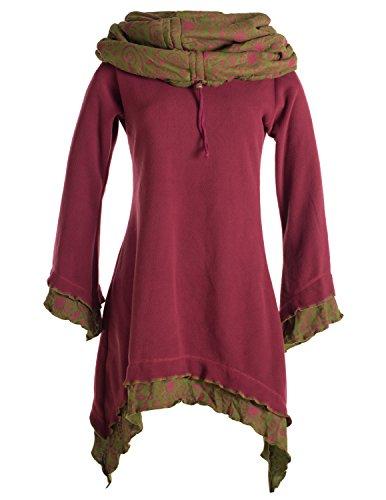 Vishes - Alternative Bekleidung - Lagenlook Zipfelkleid aus Eco Fleece mit Langen Ärmeln und großem Kapuzenschalkragen