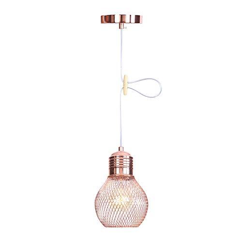 Wankd Modern Industrielle Pendelleuchte Kronleuchter - Minimalistisch Vintage Geometrie Hängeleuchter Roségold Lampe aus Metall Hängelampe E27 Lampenfassung Deckenleuchte für Küchen Keller