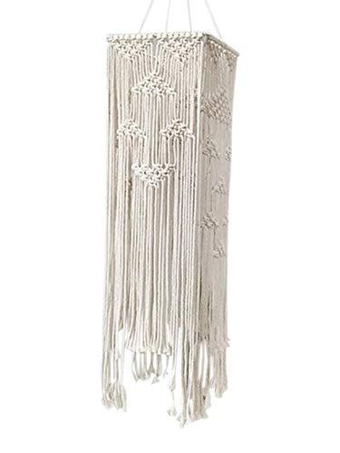 Waroomss Makramee Lampenschirm Decke Pendelleuchte Schatten Baumwolle Seil Quaste Boho Hochzeit hängen handgewebte Dekoration für Wohnzimmer Schlafzimmer Hochzeit