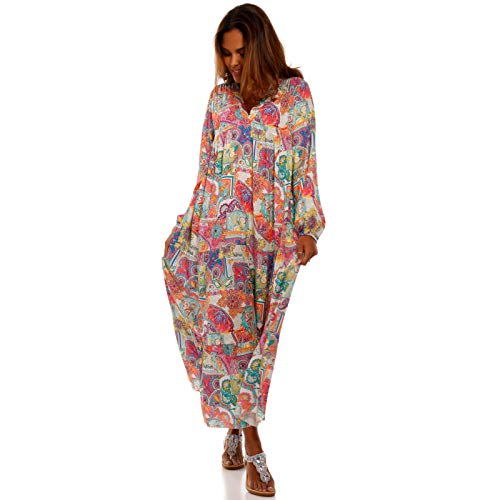 YC Fashion & Style Damen Boho Maxikleid Strandkleid Freizeit Sommer oder Herbstkleid Kleid Hippie Kleid Plus Size Made in Italy