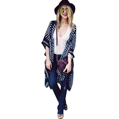 YunYoud Damen Große Größe Mantel Blumenmuster Chiffon Jacke Lose Schal Kimono Irregulär Strickjacke Tops Mode Beiläufig Outwear Jacket