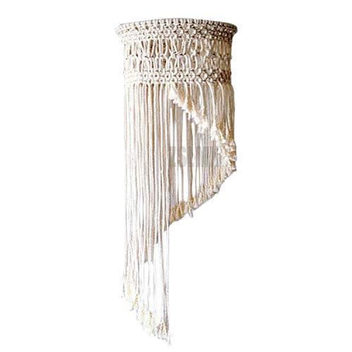 ZSLMX Moderne Creme Beige Baumwollseil Lampenschirme, Zylindergewebter Tuch Lampenschirm, Macrame Drum Kronleuchter Schatten, Stoff Lampenschirm für Nachttischlampen Oder Deckenbeleuchtung