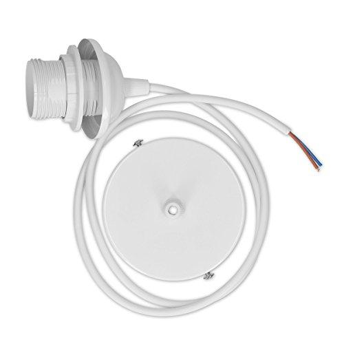 kwmobile E27 Lampenfassung mit Deckenbefestigung - Lampenaufhängung weiß mit 80cm Kabel - Schnurpendel Pendelleuchte Hängeleuchte Lampenschirm